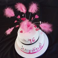 Pink, White And Black Butterflies And Feathers Sugarpaste, with Patchwork Cutter Butterflies and Marabou Feathers
