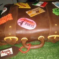 Luggage Cake Made for a lady who loves to travel. Covered in fondant. Tag is chocolate clay. Labels are hand painted with gel color