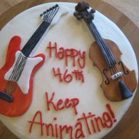 Guitar And Violin In Love Made for an animator that was currently working on a movie where the main characters, a guitar and a violin were in love. Cake covered in...