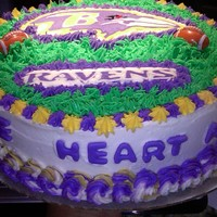 "Baltimore Ravens Cake Ravens cake for a little boy who wanted that he was ""the heart and soul of the Ravens"" on the cake!"