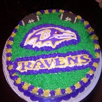 Ravens Tailgating Cake white almond cake with buttercream. used frozen buttercream transfer method posted on this site. love it! attending a ravens tailgaiting...