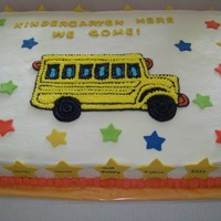 Pre K Graduation Cake A Pre K graduation cake, this was a full sheet vanilla cake, covered in vanilla buttercream, i star piped the school bus and the stars were...