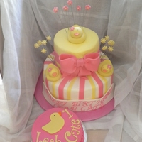 2 Tier Duck Themed Cake 2 Tier duck themed 1st birthday cake, all vanilla cake with vanilla buttercream, bottom tier has hot pink and pale yellow stripes, top tier...