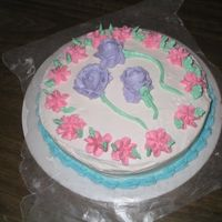 Buttercream Flowers 2nd cake ever decorated. Cake and all of the decorations and flowers are made out of buttercream. Had a problem with the icing because my...