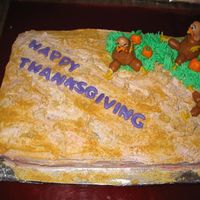 Thanksgiving Cake White and chocolate cake (one on top of the other) with strawberry BC icing, top is BC icing mixed in with graham cracker crumbs. (Note to...