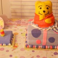 Pooh Cake And Smash Cake Thanks cakelady77 for the directions!WASC cake with MMF. My first time with MMF! My god daughter's 1st birthday cake.