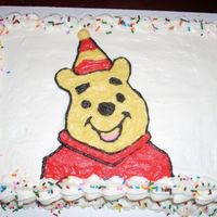 Winnie The Pooh Winnie the pooh. White cake with buttercream and sprinkles