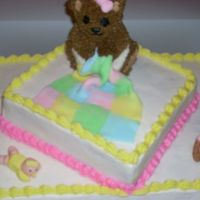 Bear Baby Shower Mini bear with 2 fondant babies. white cake with buttercream