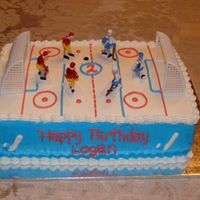 Hockey Rink Cake is all buttercream with plastic nets and figures. A really easy cake to make and it looked really neat!