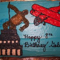 King Kong Birthday Cake My son wanted a King Kong Cake, so this is what I made. My icing bag hit the icing after I was finished right behind King Kong and I had to...