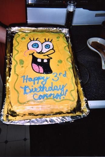 Spongebob Cake I made this for my son's birthday last October. It is all freehand. Everyone loved it. He wants another SpongeBob cake this year.