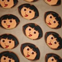 Dora The Explorer Cookie Butter cookies with royal icing. Party favours for a Dora fans 5th birthday.