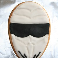 The Stig! The Stig, from the BBCs Top Gear programme. Made as party favours for my son's 9th birthday treat. Butter cookies with Royal Icing...
