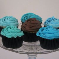 Baby Blues  Baby shower cupcakes requested in varying shades of blue and a few chocolate iced ones. Their colors were blue and brown. After a lot of...