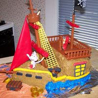 Dora Pirate Ship Cake My daughter wanted a Dora Pirate party, So I made her this cake. Eveyone loved it