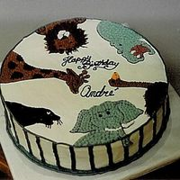 Zoo Birthday Cake Round Cake with buttecream icing, design from invitation