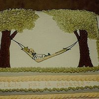 Hammock Sheet Cake with buttercream icing