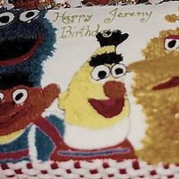 Sesame Birthday Chocolate Sheet Cake with buttercream, design from invitation