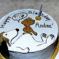 Snoopy Birthday Round Cake with buttercream icing