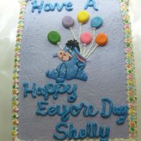 Eyeore Cake I did this for a friend who loves Eyeore. Cut from fondant, white cake with secret recipe icing.