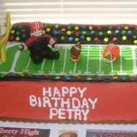 Football Birthday Cake   Raiders football cake done for a friend's son's birthday.