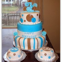 Twin Boys 1St Birthday Cake! 3 tier fondant covered cake with two little buttercream smash cakes!