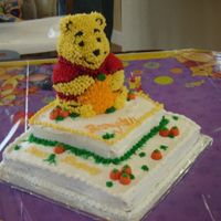 3-D Winnie The Pooh Pumpkin Patch 3/D winnie the pooh on top of two tiers. Pumpkin patch around pooh. For a 1 year birthday. This was one of my first cakes, but I had a...