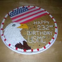 Marine Corps Birthday made a giant cookie for the marine corps birthday. fondant flag with a buttercream Eagle. simple enough!