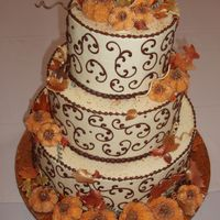Autumn Frost I entered this cake into the 2006 SRBA convention, my first ever Buttercream Wedding Cake! It was a 12-9-6 cake iced in a pale pumpkin-...