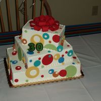 Shannon's 30Th Birthday Iced in buttercream with fondant accents. The fondant was matched to the exact colors of the party decorations.
