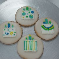 Birthday Cake Cookies Each cookie was hand iced with fondant then decorated with bc.