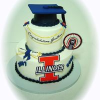 Illini Grad Buttercream, edible images, fondant accents