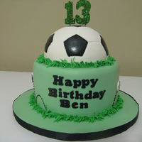 Soccer Birthday A simple soccer cake, inspired by many others, for a boy entering the teen years. The soccer ball is covered with white fondant and painted...