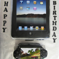 Ipad & Psp Player This is definitely not my best work. The client only wanted enough cake for 12 serving with both cakes and didn't want any leftovers....
