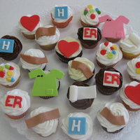 "Medical Cupcakes Cupcakes to say ""thanks"" to medical group who saved my client's son's life. Fun making them. All decorations fondant."