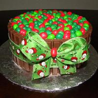"Chocoholic's Christmas Yet another Chocoholic cake, but this time w/Christmas colors =) 2 - 8"" round chocolate cakes, chocolate buttercream filled/iced, 10..."