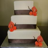 Modern Bride - Coral  Customer wanted me to replicate a cake I'd done before in teal colors in Ivory, chocolate brown & coral instead. Plus instead of...