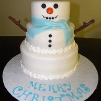 Simple Snowman  Customer needed cake for piano recital, but due to icy weather, recital was cancelled. Luckily her other daughter had a school play a...