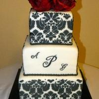 "Damask Print Wedding  First time to do stenciling on a cake & I loved the turn out!!! 6, 8, & 10"" squares covered in fondant and then stenciled w/..."