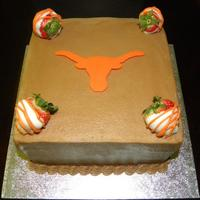 Ut Groom's Cake  Customer wanted a very small groom's cake that had the UT logo on it and a couple strawberries. This is what I turned up and they...
