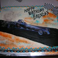Jr. Dragster   This cake is for a child that races with my son. He was wanting a Jr. Dragster cake as well.