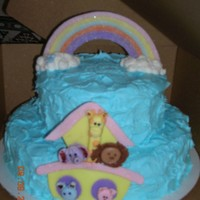 1St Birthday . Noahs Ark   This was a first birthday cake. the rainbow and the ark are all made out of fondant.
