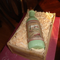 Wine Bottle Wine bottle in Box cake. Fondant bottle with non-edible label.