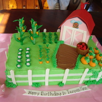 Farmville Cake Farmville birthday cake- Butter cake with strawberry filling- BX with fondant and gumpaste accents.