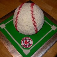 Red Sox Baseball Used the sports ball pan. covered board in fondant and made baseball diamond. Cheated and put a Red Sox patch my husband had as I didn&#039...