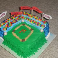 Atlanta Braves Baseball Stadium  1/2 sheet chocolate with chocolate mousse filling, cut and built up bleachers. Used Runts and Skittles for fans. Rest is buttercream. Sand...