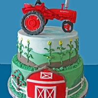 Tractor Cake Clients son was turning 21 and loves Farmall tractors. She sent me pics of one of his models so I did my best to duplicate it in fondant/...