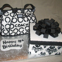 Coach Bag & Gift Box  My first attempt at a purse cake. Customer gave me the freedom to choose the design but wanted classic black and white. Found a picture of...