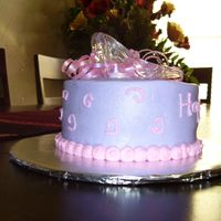 Princess Tea Party I made this cake for a little girl's small princess tea party - buttercream with toy glass slippers & irredescent ribbon curls on...