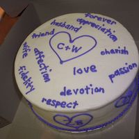 "Anniversary ""love Words"" Cake I made a cake trying new recipes & ended up using the cake for my in-laws' anniversary. It's white wedding cake with..."